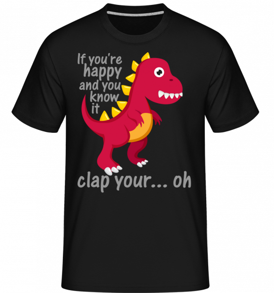 T-Rex Clap You Hands - T-Shirt Shirtinator homme - Noir - Devant