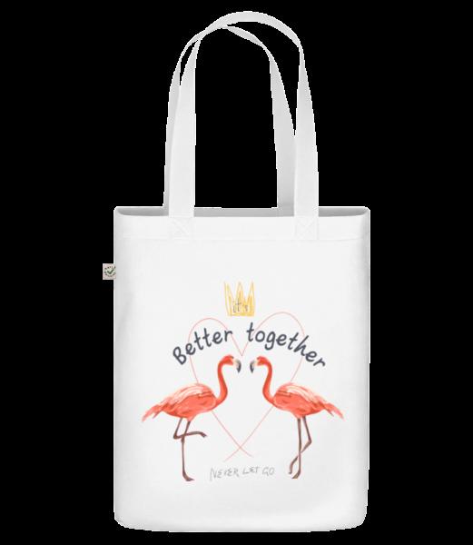 Better Together Flamingos - Sac en toile bio Earth Positive - Blanc - Devant