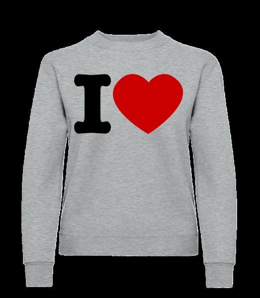 I Love - Sweat-shirt classique avec manches set-in pour femme - - Devant