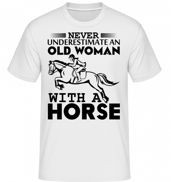 Old Woman With Horse -  T-Shirt Shirtinator homme - Blanc - Devant