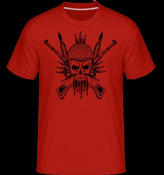 Tatouage De Crâne De Soldat - T-Shirt Shirtinator homme - Rouge - Devant