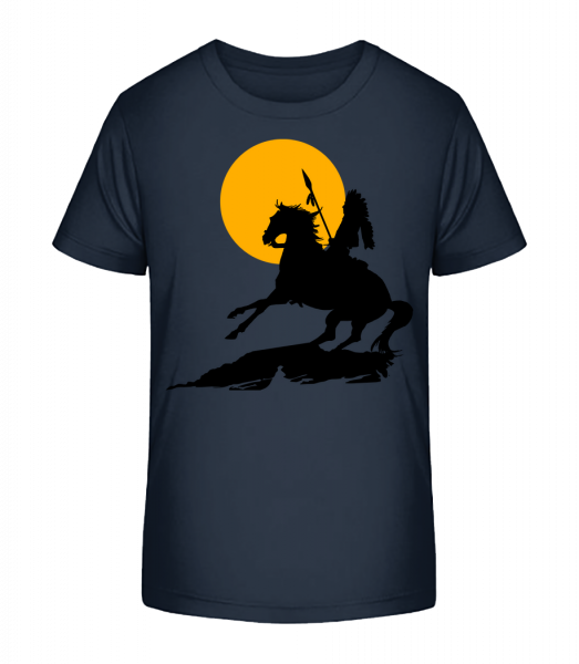 Knight Silhouette Sunset - T-shirt bio Premium Enfant - Bleu marine - Devant