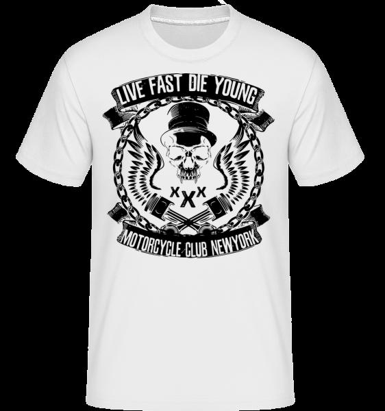 Live Fast Die Young Skull - T-Shirt Shirtinator homme - Blanc - Devant