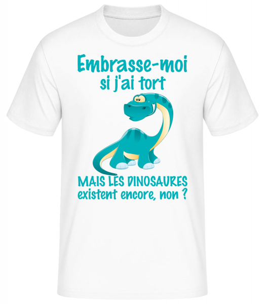 Embrasse-Moi Dinosaures - T-shirt standard homme - Blanc - Devant