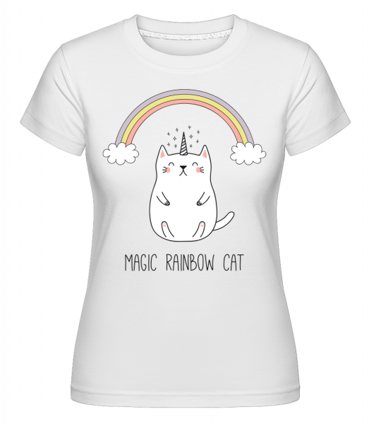Magic Rainbow Cat -  T-shirt Shirtinator femme - Blanc - Devant