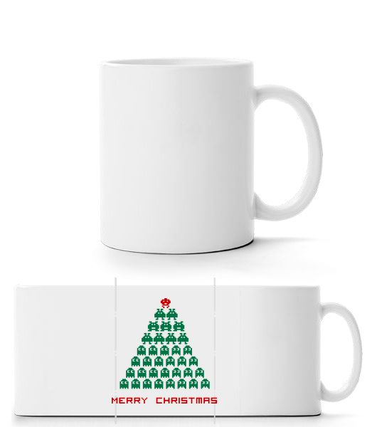Merry Christmas Pixel Monster - Mug panorama - Blanc - Devant