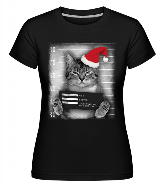 Cat XMas Guilty -  T-shirt Shirtinator femme - Noir - Devant