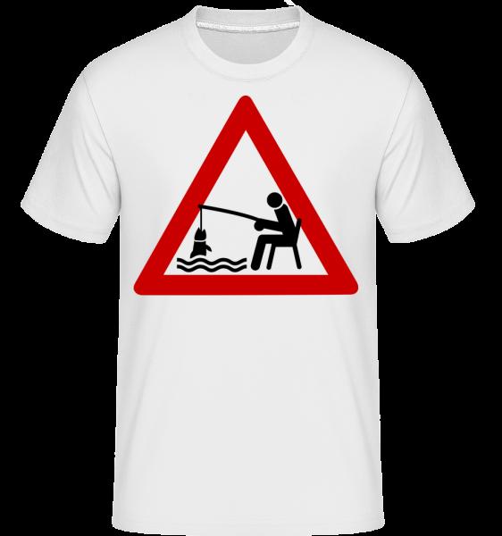 Fishing Warning Sign -  T-Shirt Shirtinator homme - Blanc - Devant