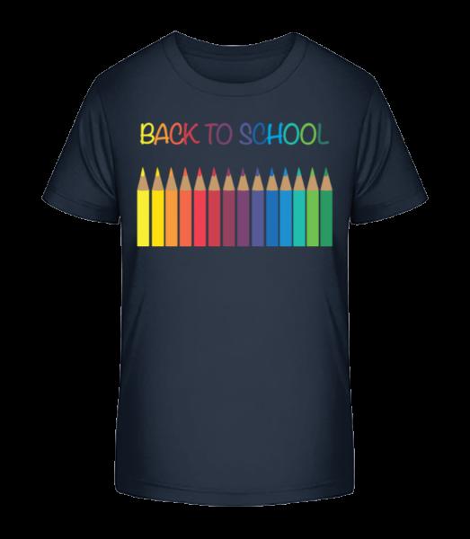 Back To School - Crayons - T-shirt bio Premium Enfant - Bleu marine - Devant