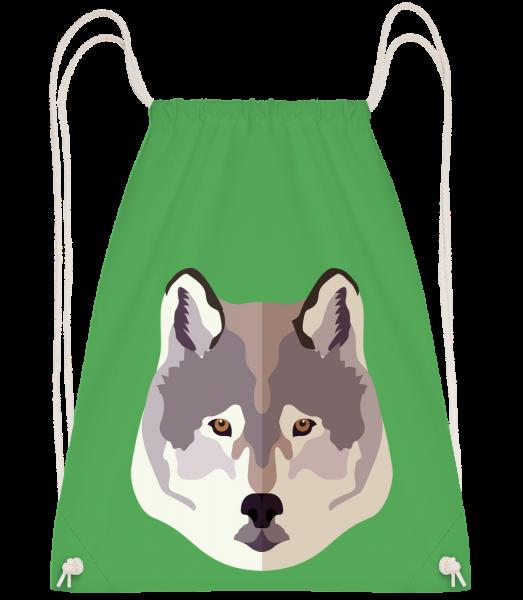 Loup Comic Ombre - Sac à dos Drawstring - Vert irlandais - Devant