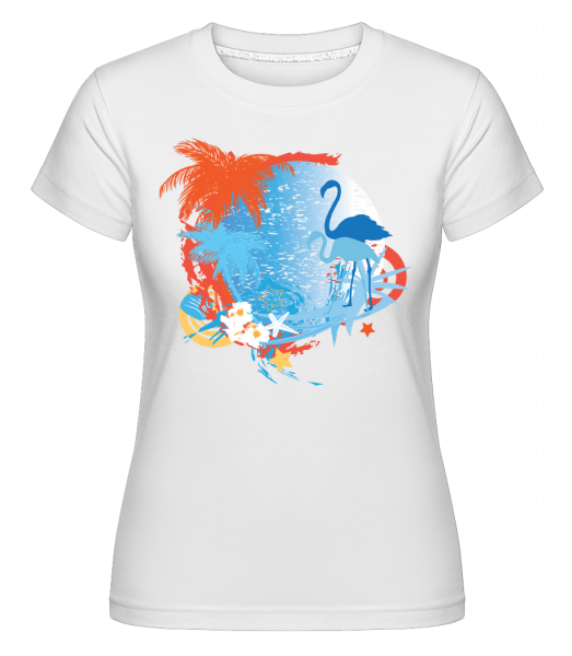 Flamingos In Paradise Blue/Orang - T-shirt Shirtinator femme - Blanc - Devant