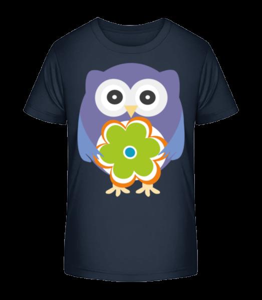 Hibous Et Fleures - T-shirt bio Premium Enfant - Bleu marine - Devant