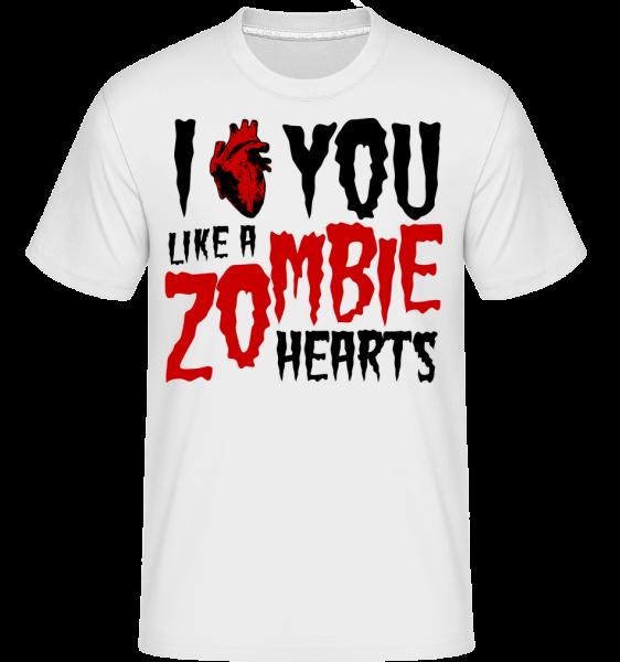 I Like You Like A Zombie Hearts - T-Shirt Shirtinator homme - Blanc - Devant