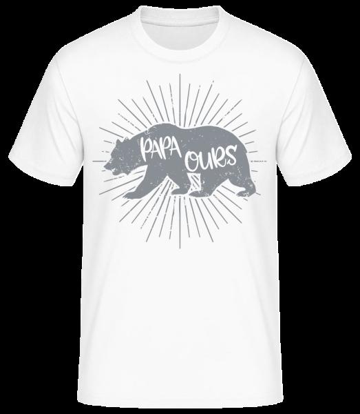 Papa Ours - T-shirt standard homme - Blanc - Devant