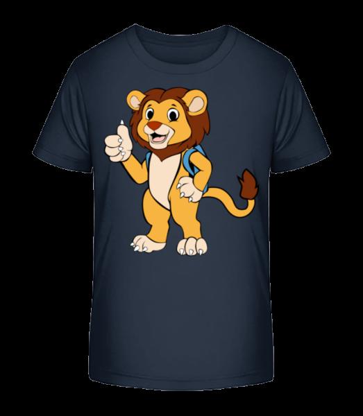 Lion Doux Avec Sac Á Dos - T-shirt bio Premium Enfant - Bleu marine - Devant