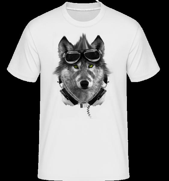 Motard Loup -  T-Shirt Shirtinator homme - Blanc - Devant