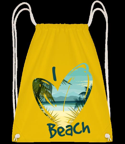 I Love Beach Heart - Sac à dos Drawstring - Jaune - Devant