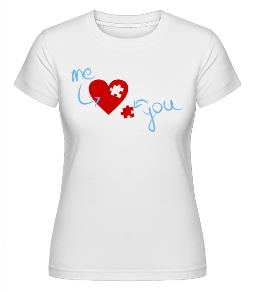 I Love You Puzzle Heart - T-shirt Shirtinator femme - Blanc - Devant