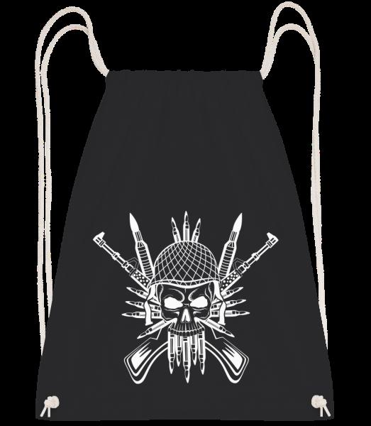 Tatouage De Crâne De Soldat - Sac à dos Drawstring - Noir - Devant