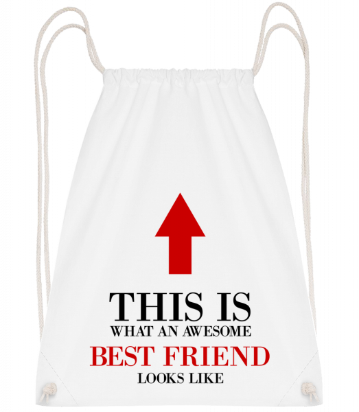 Awesome Best Friend - Sac à dos Drawstring - Blanc - Devant