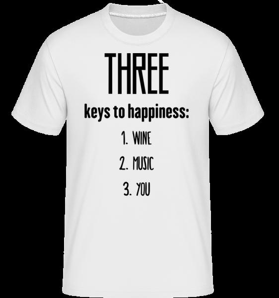 Three Keys To Happiness -  T-Shirt Shirtinator homme - Blanc - Devant