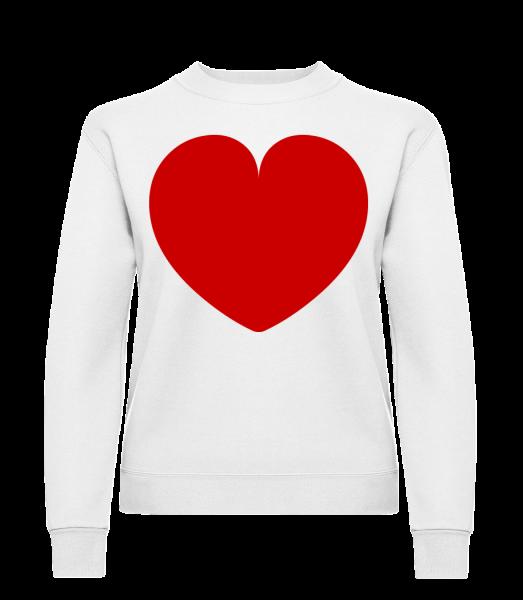 Cœur - Sweat-shirt classique avec manches set-in pour femme - Blanc - Devant