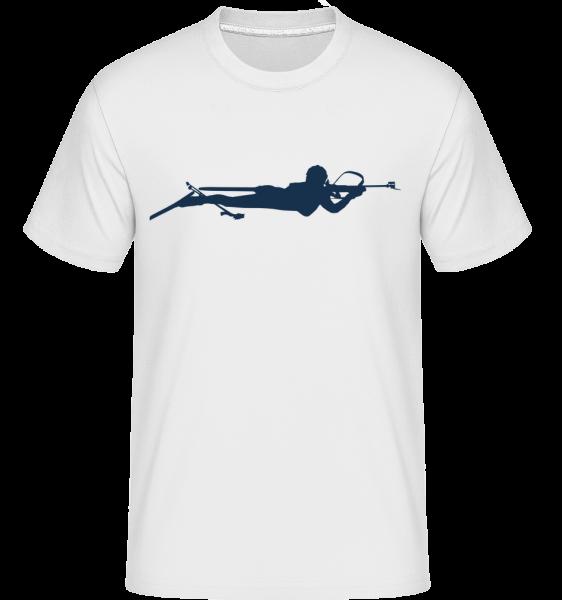 Biathlon Blue - T-Shirt Shirtinator homme - Blanc - Devant