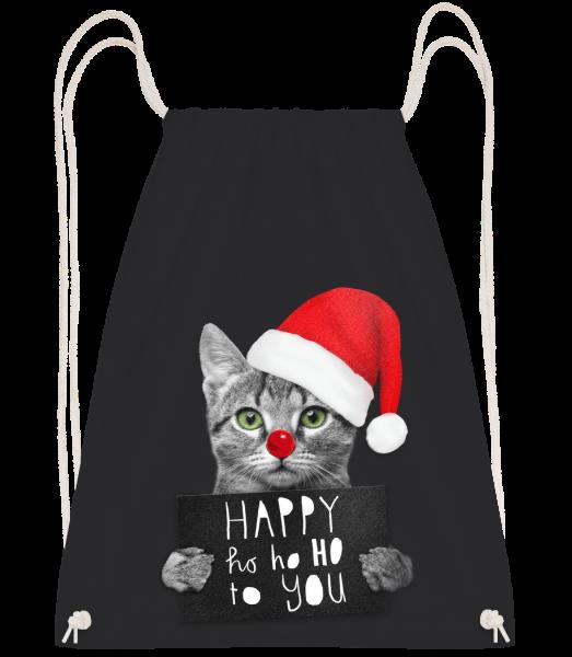 Happy Ho Ho Ho To You - Sac à dos Drawstring - Noir - Devant