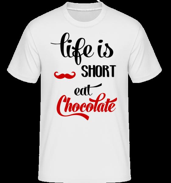 Life Is Short, Eat Chocolate - T-Shirt Shirtinator homme - Blanc - Devant