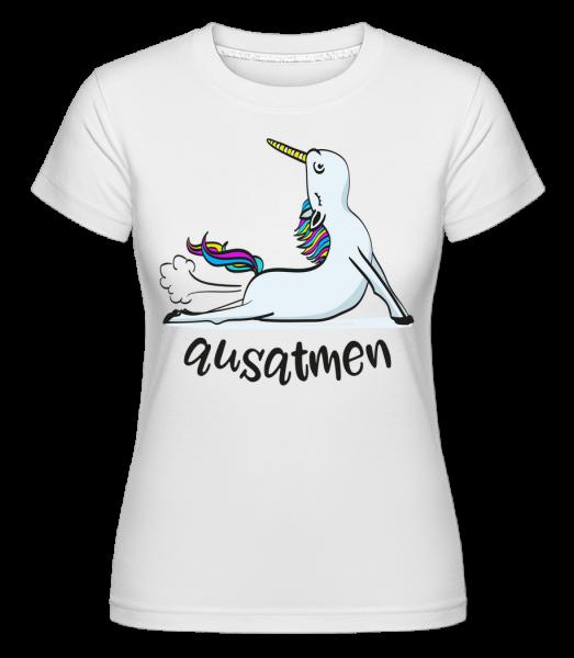 Yoga Licorne Respirer - T-shirt Shirtinator femme - Blanc - Devant