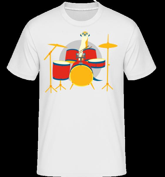 Meerkat Playing Drums -  T-Shirt Shirtinator homme - Blanc - Devant