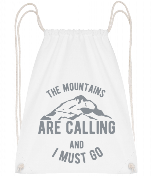 The Mountains Are Calling - Sac à dos Drawstring - Blanc - Devant