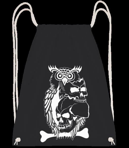 Tatouage De Crâne De Hibou - Sac à dos Drawstring - Noir - Devant