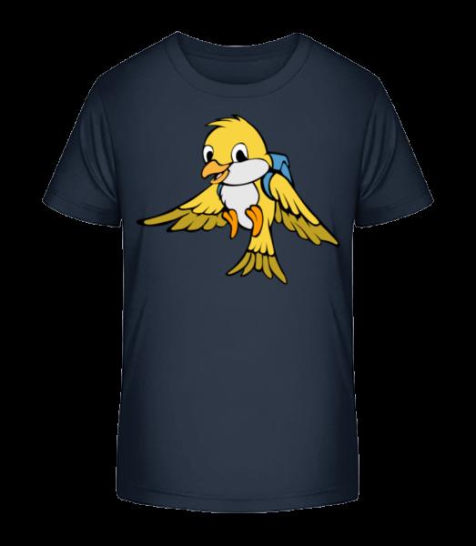 Oiseau Doux Avec Sac Á Dos - T-shirt bio Premium Enfant - Bleu marine - Devant