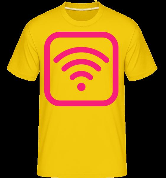 Wlan Icon Pink -  T-Shirt Shirtinator homme - Jaune doré - Devant