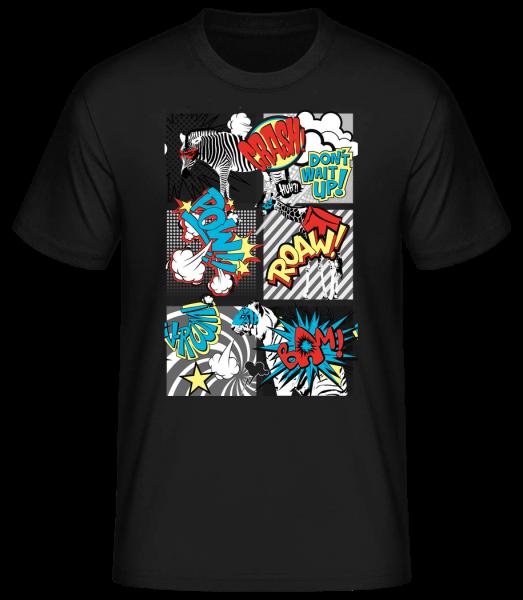 Animaux Bande Dessinée - T-shirt standard homme - Noir - Devant