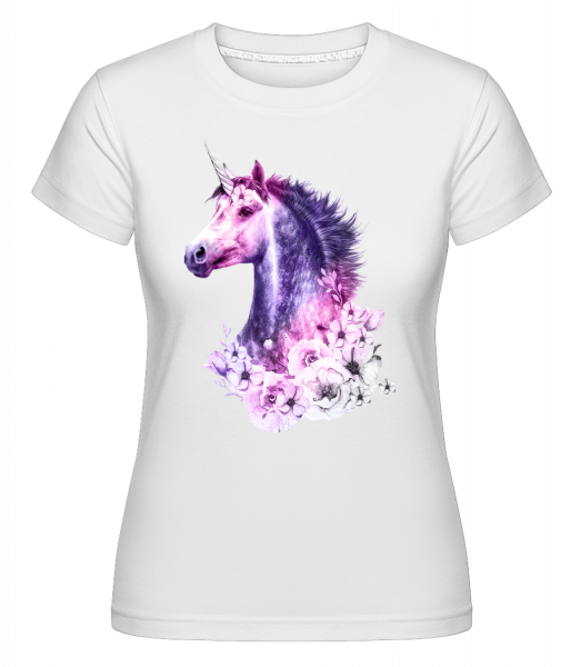 Licorne Fleurs - T-shirt Shirtinator femme - Blanc - Devant