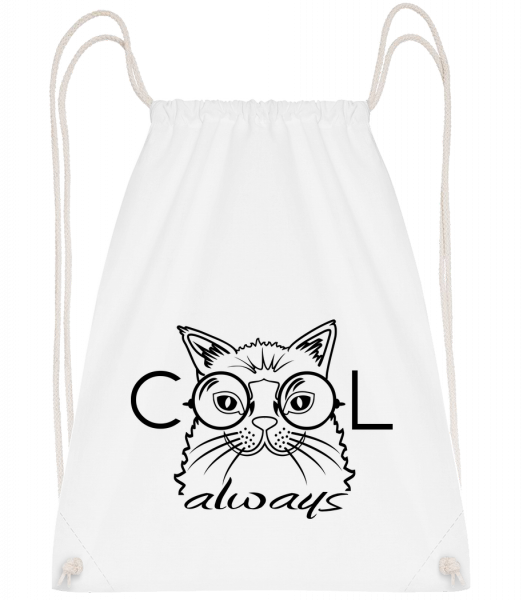 Cool Cat Always - Sac à dos Drawstring - Blanc - Devant