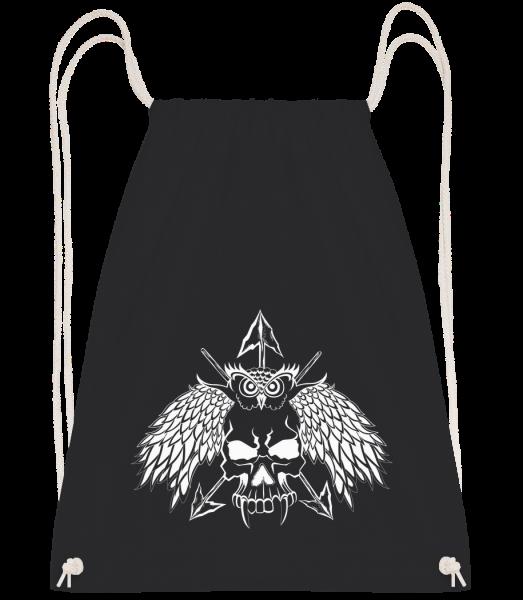 Tatouage Tête De Mort - Sac à dos Drawstring - Noir - Devant
