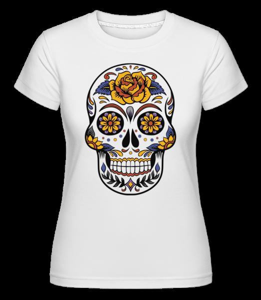Dia De Los Muertos Tête De Mort - T-shirt Shirtinator femme - Blanc - Devant